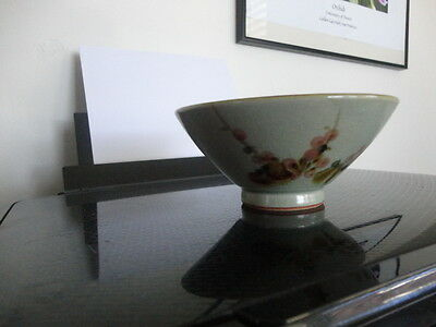 Vintage Japanese fine crackle glazed Celadon bowl