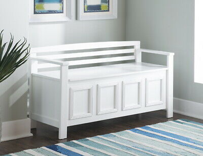 Terrific New Large Wooden White Storage Bench Back Entryway Mud Room Beatyapartments Chair Design Images Beatyapartmentscom