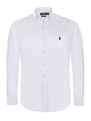 Men's White Ralph Lauren Polo Long Sleeve Slim Fit Shirt Bnwt