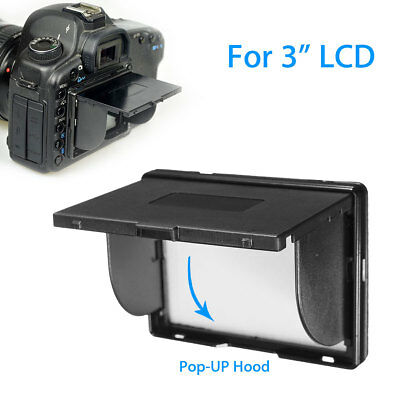 "3"" LCD Detachable Sun Shade Camera POP-UP Hood Screen Protector For 5D2 D700 7D"