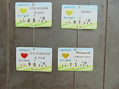 LOT 4 x VINTAGE FRENCH BUTCHER'S SHOP LABELS CHARCUTERIE BOUCHERIE EUROS
