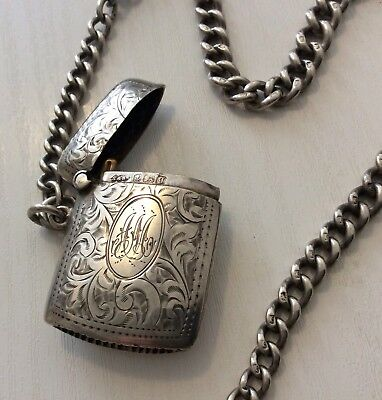Superb Old Antique Heavy Solid Silver WW1 - 1915 Vesta Match Case & Albert Chain