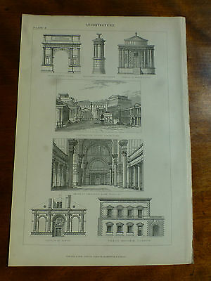 1874 ENGRAVING ARCHITECTURE Styles ROMAN Arch of Titus TEMPLE OF VESTA The Forum