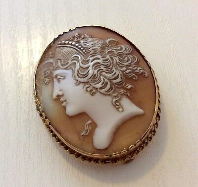 Superb Old Antique Victorian Large 9 Carat Gold Portrait Shell Cameo Brooch