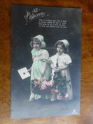 R155 'In All Sincerity' Greetings Postcard c1912 Carlton Publishing