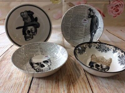 Royal Stafford - Skull - Various design Cereal bowls - Set of 4 Theme 2