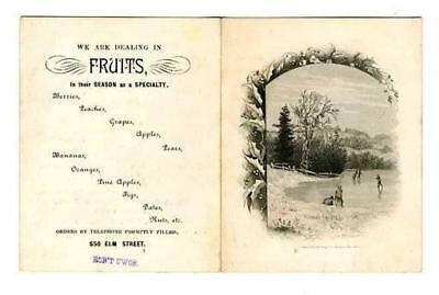 1884 Candy Fruit Syrup Soda Water & Fruit Ad Card Elm Street Dallas Texas