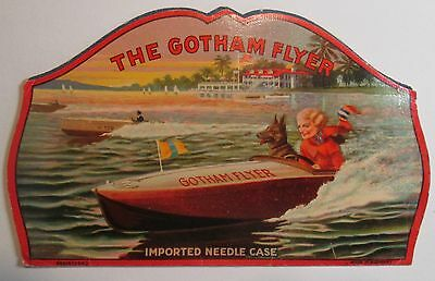 Vintage Gotham Flyer needle case - great graphics with speed boat