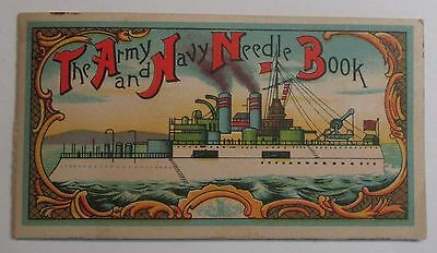 Vintage Army & Navy Needle Book featureing a steamship ~ made in Japan