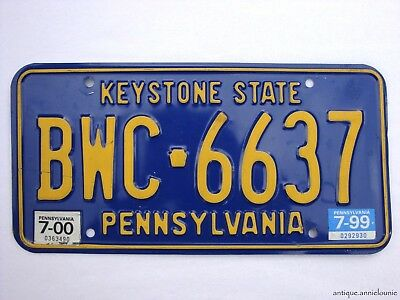 1999-2000 PENNSYLVANIA Vintage License Plate # BWC 6637
