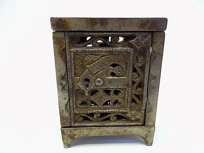 Antique Old June 2nd 1896 Cast Iron Safe Coin Bank Metal Box Container Used