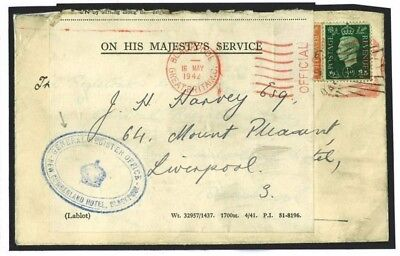 K185 Great Britain Cover 1942 Blackpool WW2 Evacuation Hotel Official Stamp