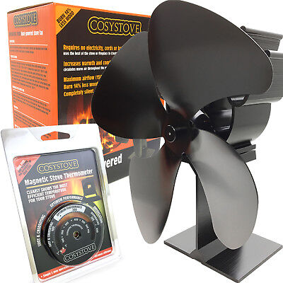 New Black 4 Blade Heat Powered Eco Fuel Wood Burning Stove Top Fan + Thermometer