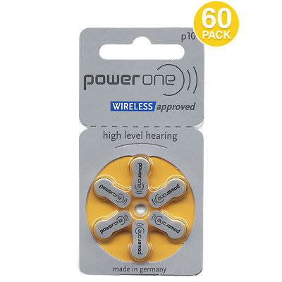 Power One Mercury Free Hearing Aid Batteries Size 10 (60 Pack)