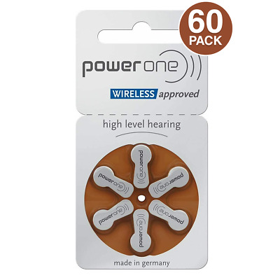 PowerOne Size 312 MERCURY FREE Hearing Aid Batteries (60 batteries)