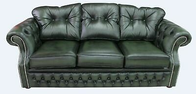 Chesterfield Era 3 Seater Antique Green Leather Sofa Settee