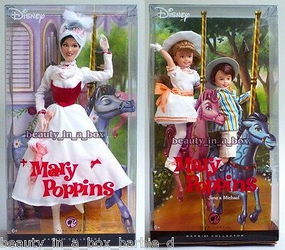 Mary Poppins Jane & Michael Barbie Doll Collector Disney G Lot 2 ""