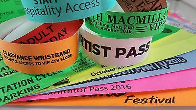Printed Tyvek Wristbands - 100  19mm Party, events, security bands