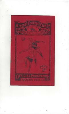 Arsenal v Vienna X1 1933/34 Friendly Football Programme
