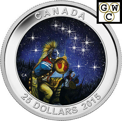 2015 The Quest-Star Charts Glowing Colorized $25 Silver Coin 1oz .9999 (14035)NT