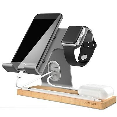 Apple Watch Charging Stand LAMEEKU Universal 4 in 1 Cell Phone Wood Charging ...