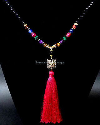 108 Bead 7 chakra necklace onyx, tiger eye w/ gold dove and tassel