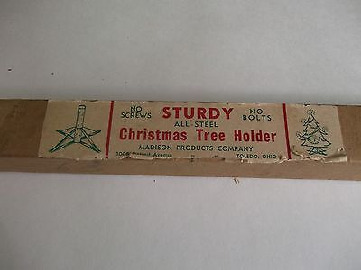 VTG.,ANTIQUE CHRISTMAS TREE HOLDER-ALL-STEEL-IOB-TOLEDO,OHIO~awesome collectible