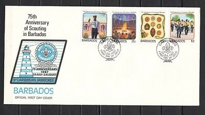 Barbados, Scott cat. 706-709. 75th Scouting in Barbados. First day cover.