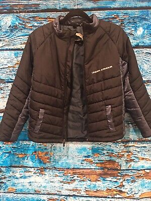 Youth Large Under Armour Jacket Black And Gray (b)