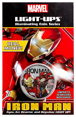 2017 Fiji Marvel Light-Ups - Iron Man Silver Plt Specimen $0.50 Coin BU SKU49763