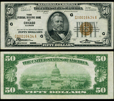 FR. 1880 G $50 1929 Federal Reserve Bank Note Chicago Extra Fine+