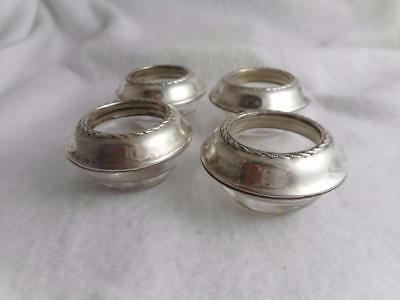 Lot 4 Vintage Fine Arts Sterling Silver & Crystal Open Salts / Cellars