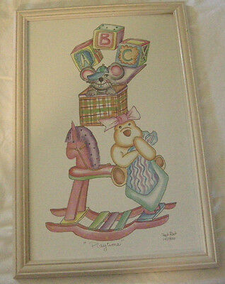 """Nursery Picture, """"Playtime"""" By Fat Rat, Print, 14 out of 300, Signed, Brand New"""