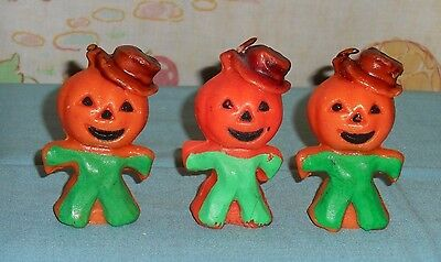 vintage Halloween GURLEY CANDLE LOT OF 3 scarecrow jack-o-lantern head man green