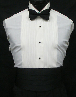 Ivory Off-White Bone Wing Collar Pleated Front Tuxedo Shirt *Choose Your Size*
