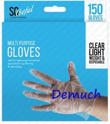 New 150 Multi Purpose Gloves Transparent Plastic Safety Disposable Hairdressing✔