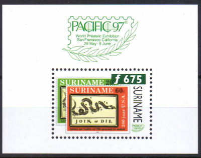 SURINAME Sheet MiNr 69 MNH Briefmarkenausstellung Pacific 97 [AM127]