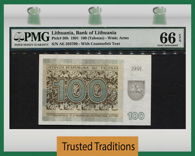 "TT PK 38b 1991 LITHUANIA 100 TALONAS ""EUROPEAN BISON"" PMG 66 EPQ GEM NONE FINER!"