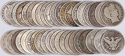 90% Silver Barber Half Dollar 20-Coin Roll 50C Full Date Circulated MD/MM $10 FV