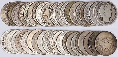 90% Silver Barber Half Dollar 20-Coin Roll 50C Full Date Good Circulated $10 FV