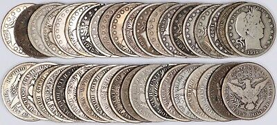 90% Silver Barber Half Dollar 20-Coin Roll 50C Full Date Good or Better $10 FV