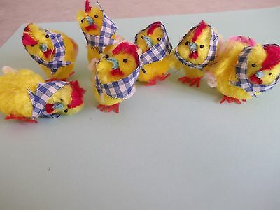Vtg.easter Chicks Chenille?rooster Ornaments~Adorable Decorations,crafts~
