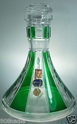 VINTAGE Crystal Ship Decanter With Stopper, Emerald Green & Clear Bohemian