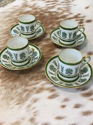 (4) Richard Ginori Ercolano Green Demitasse Cups and Saucers in Mint Condition!