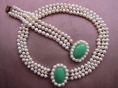"3 Row 78 mm Cultured Pearl Necklace & Bracelet Set; Length 17"" - 19""."