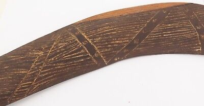 SUPERB 1950's / 1960's HIGHLY CARVED BOOMERANG. EX YALATA MISSION, S/AUST. #1