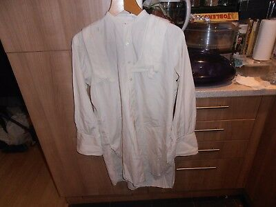 "Vtg Bespoke  Collarless Cream Day Shirt size 14""  C/w 14 1/2"" Collar"