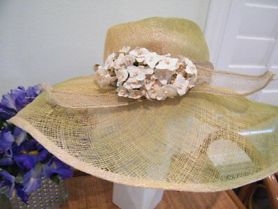 Vtg Jennifer Circelli  Sinamay Wide Wire Framed 1940's Millinery Warm Yellow Hat