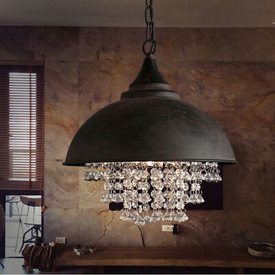 New Industrial Rustic Crystal Pendant Lamp Loft Vintage Chandelier Ceiling Light