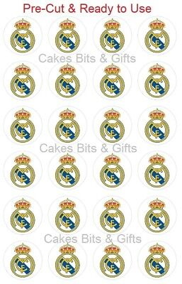 24x REAL MADRID Edible Wafer Cupcake Toppers PreCut & Ready to Use Football Club